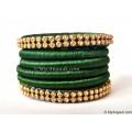 Dark Green Colour Silk Thread Bangles