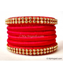 Red Colour Silk Thread Bangles