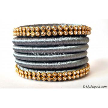 Grey Colour Silk Thread Bangles