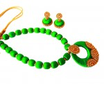 Youth Lime Green Silk Thread Necklace with Grand Pendant and Earrings