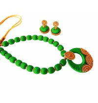 Youth Green Silk Thread Necklace with Grand Pendant and Earrings