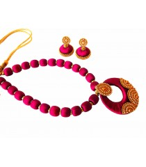 Youth Pink Silk Thread Necklace with Grand Pendant and Earrings