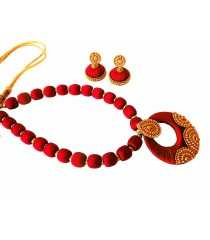 Youth Red Silk Thread Necklace with Grand Pendant and Earrings