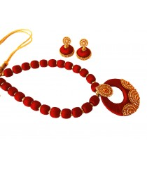 Youth Maroon Silk Thread Necklace with Grand Pendant and Earrings