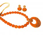 Youth Orange Silk Thread Necklace with Grand Pendant and Earrings