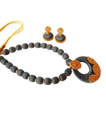 Youth Grey Silk Thread Necklace with Grand Pendant and Earrings