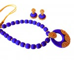Youth Royal Blue Silk Thread Necklace with Grand Pendant and Earrings
