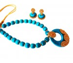 Youth Blue Silk Thread Necklace with Grand Pendant and Earrings