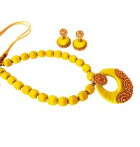 Youth Yellow Silk Thread Necklace with Grand Pendant and Earrings
