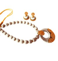 Youth White Silk Thread Necklace with Grand Pendant and Earrings