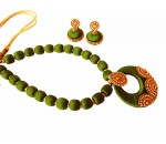 Youth Olive Green Silk Thread Necklace with Grand Pendant and Earrings