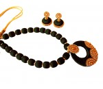 Youth Black Silk Thread Necklace with Grand Pendant and Earrings