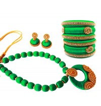Youth Green Silk Thread Necklace with Grand Pendant, Bangles and Earrings