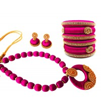 Youth Pink Silk Thread Necklace with Grand Pendant, Bangles and Earrings