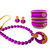Youth Violet Silk Thread Necklace with Grand Pendant, Bangles and Earrings