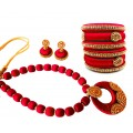 Youth Red Silk Thread Necklace with Grand Pendant, Bangles and Earrings