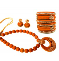 Youth Orange Silk Thread Necklace with Grand Pendant, Bangles and Earrings