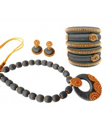 Youth Grey Silk Thread Necklace with Grand Pendant, Bangles and Earrings