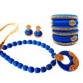 Youth Royal Blue Silk Thread Necklace with Grand Pendant, Bangles and Earrings