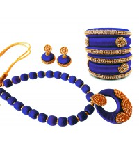 Youth Dark Blue Silk Thread Necklace with Grand Pendant, Bangles and Earrings