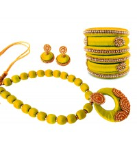 Youth Yellow Silk Thread Necklace with Grand Pendant, Bangles and Earrings
