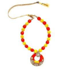 Youth Yellow - Orange Silk Thread Necklace