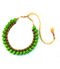 Youth Lime Green Silk Thread Necklace