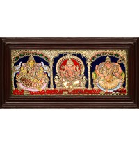 Lakshmi, Ganesha and Saraswathi - 3 Panel Tanjore Painting