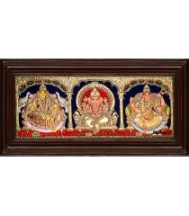 Balaji, Lakshmi, Ganesha - 3 Panel Tanjore Painting