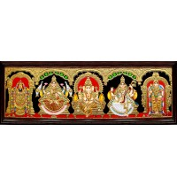 Balaji, Lakshmi, Ganesha, Saraswathi and Murugan - 5 Panel Tanjore Painting