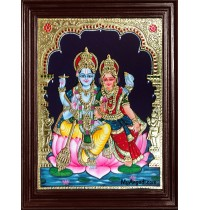 Vishnu and Lakshmi Tanjore Painting