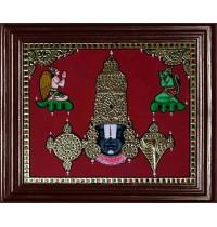 Balaji with Garudan and Hanuman Tanjore Painting