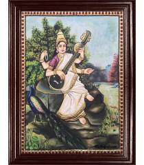 Ravi Varma Saraswathi Tanjore Painting