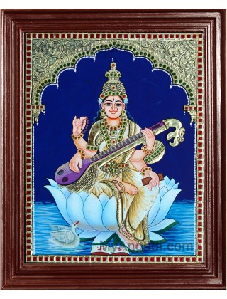 Saraswathi in Lotus Tanjore Paintings