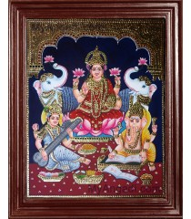 Lakshmi, Saraswati and Ganesha Tanjore Paintings