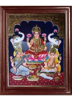 Lakshmi, Saraswati and Ganesha Tanjore Paintings