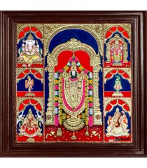 Balaji, Lakshmi, Ganesha, Saraswathi, Murugan, Hanuman, Garudan Panel Tanjore Painting
