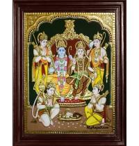Ram Darbar - Ram with Sita, Hanuman, Lakshmanan Bharathan and Shatrughna Tanjore Painting