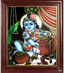Baby Butter Krishna Tanjore Paintings