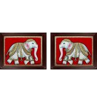 Elephant Iyaravatham Tanjore Painting