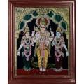 Murugan with Valli and Devasena Tanjore Painting