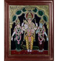 Murugan with Valli and Devasena Tanjore Painting