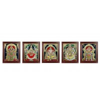Ganesh, Lakshmi, Balaji, Saraswathi and Murugan Tanjore Painting Embedded with AD Stones - 12x10 inches