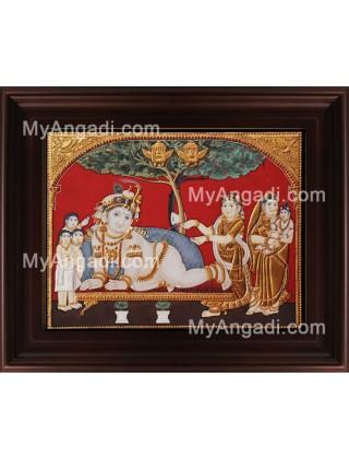 Antique Tree Krishna Tanjore Painting, Krishna Tanjore Painting