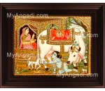 Child Ko Krishna Tanjore Painting, Baby Krishna Tanjore Painting