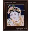 Face Krishna Tanjore Painting, Krishna Tanjore Painting