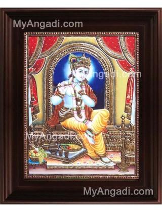 Flute Krishna Tanjore Painting, Krishna Tanjore Painting