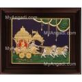 Geetha Saaram Tanjore Painting, Krishna Arjuna Chariot Tanjore Painting