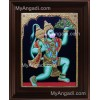 Hanuman With Sanjeevi Malai Tanjore Painting, Anchaneyar Tanjore Painting