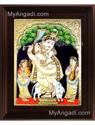 Krishna With Flute Tanjore Painting, Krishna Tanjore Painting